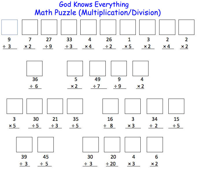 Math Puzzle (Multiplication/Division) :: Discover God 4 Kids